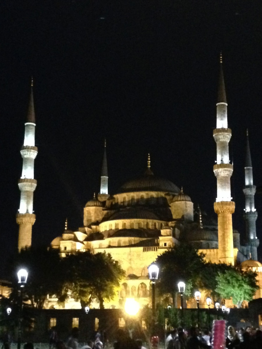 The Blue Mosque all lit up. Looks like a fairy castle.