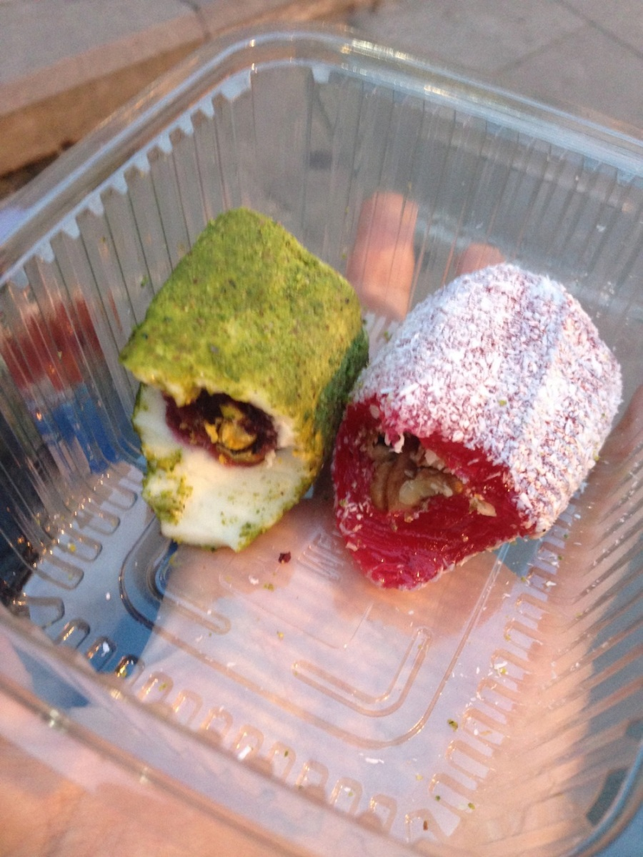 Turkish Delight, turns out it's really really good. The one on the left is pistachio and rose. SO GOOD